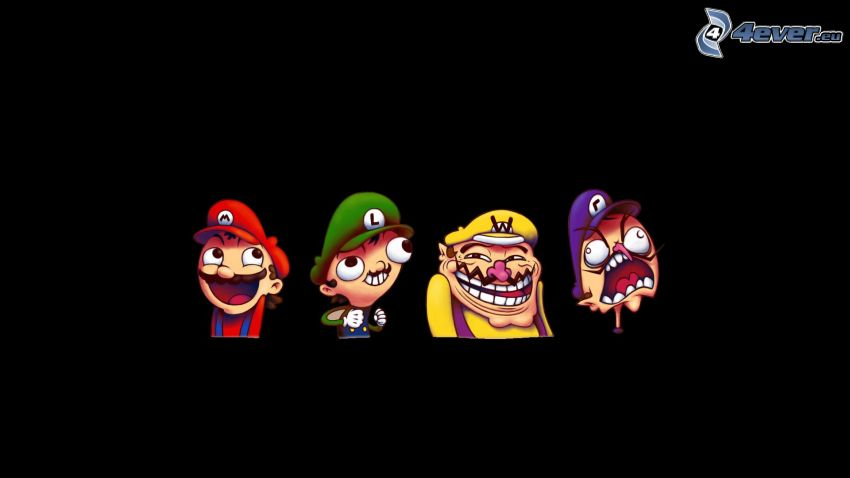 cartoon characters, Super Mario, troll face