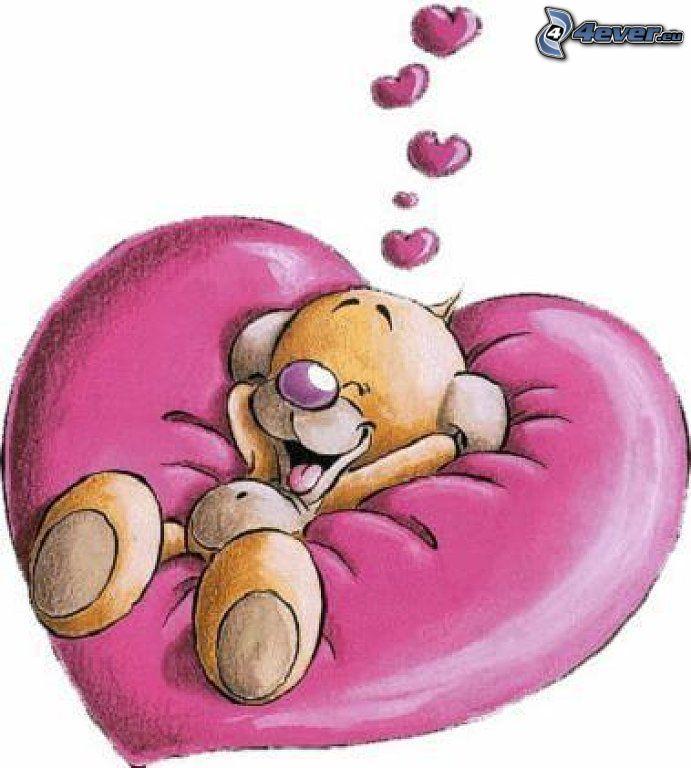 cartoon dog, hearts, love
