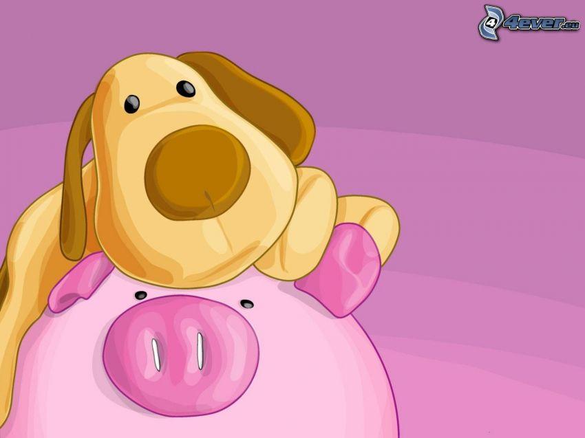 cartoon dog, pig