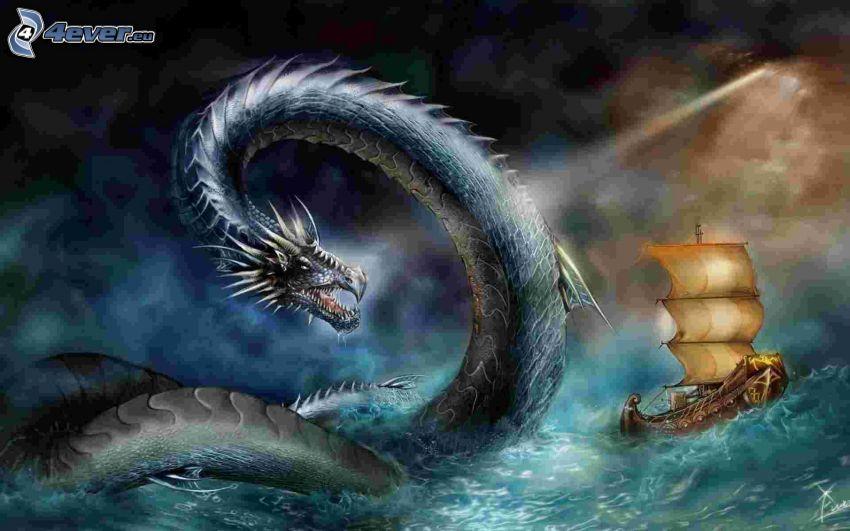 cartoon dragon, water creature, sailing boat