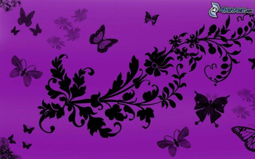 cartoon flowers, butterflies, purple background