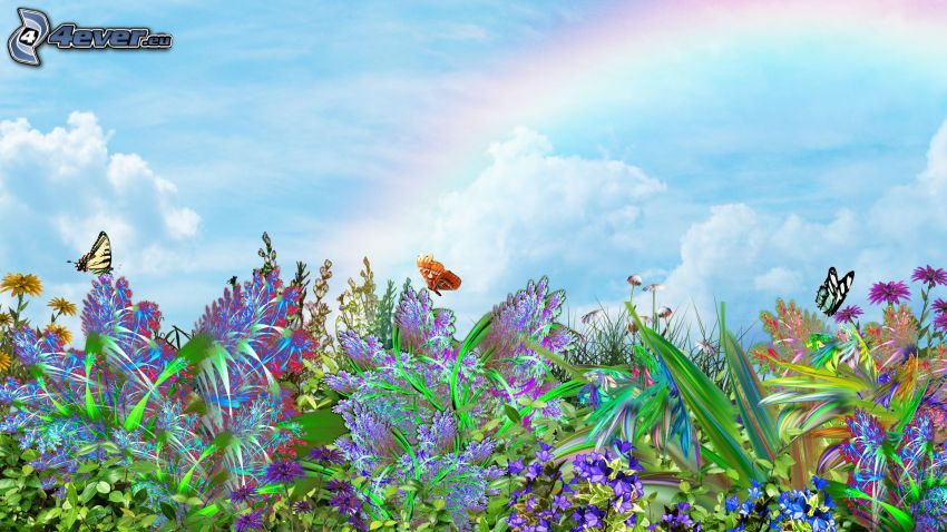 cartoon flowers, butterflies, rainbow