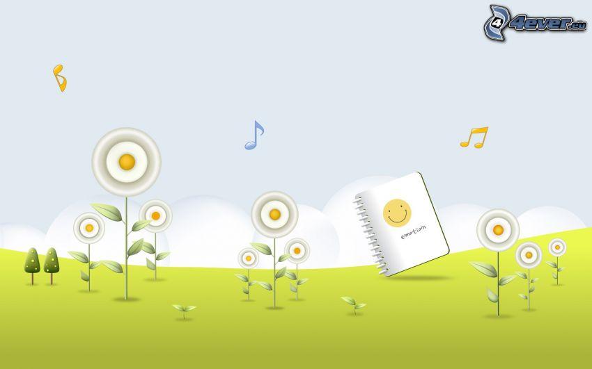 cartoon flowers, exercise book, sheet of music
