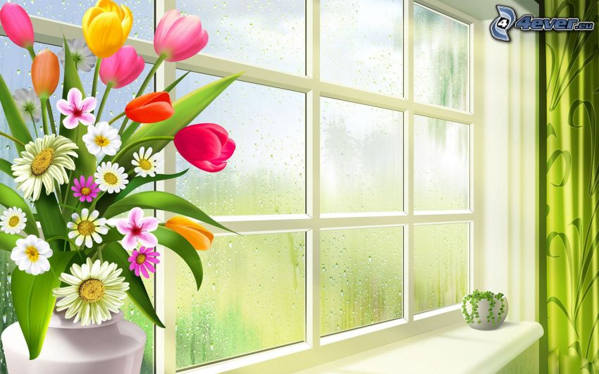 cartoon flowers, tulips, window