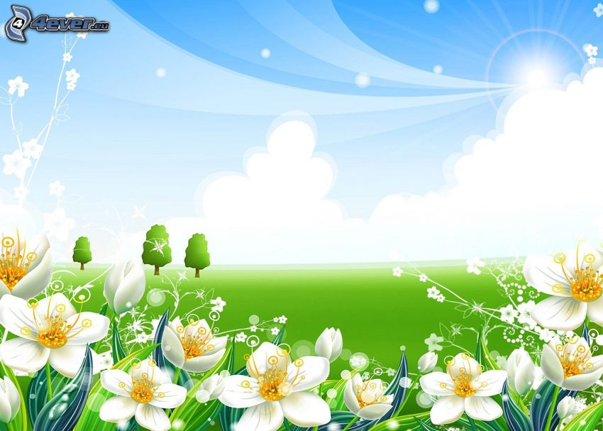cartoon flowers, white flowers, trees