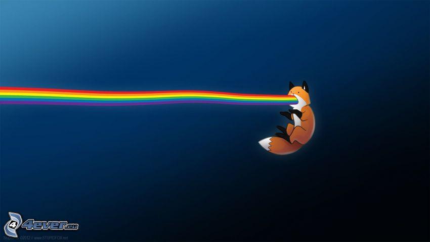 cartoon fox, rainbow