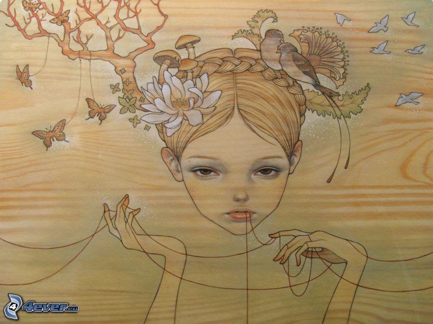 cartoon girl, birds
