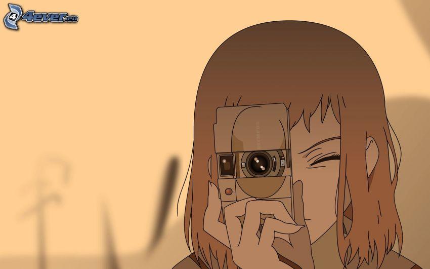 cartoon girl, girl with camera
