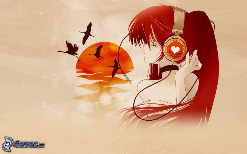 cartoon girl, girl with headphones, flock of birds, cartoon sun