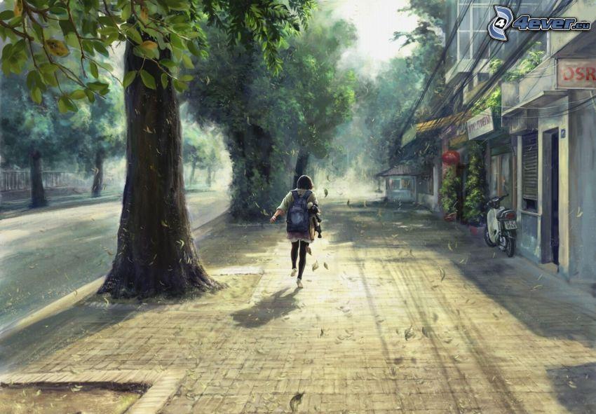 cartoon girl, street