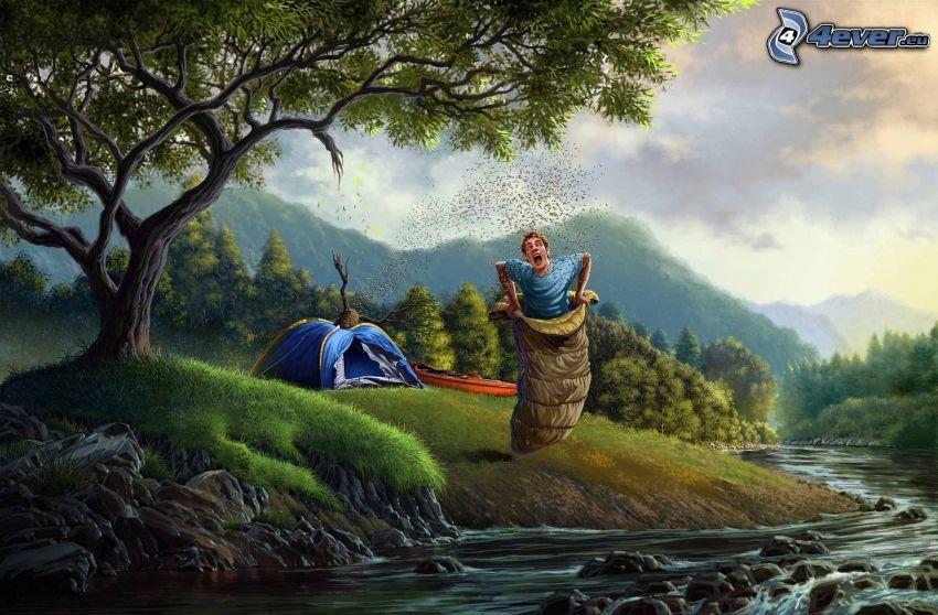 cartoon guy, sleeping bag, bees, stream, tent, boat