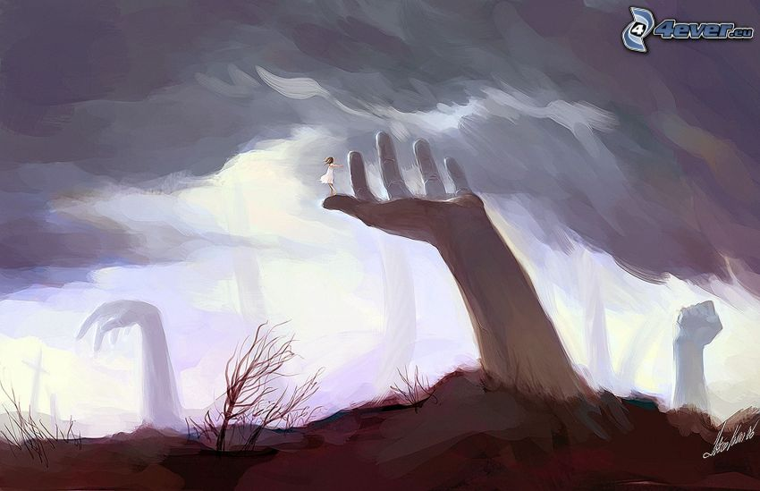cartoon hand, clouds, picture