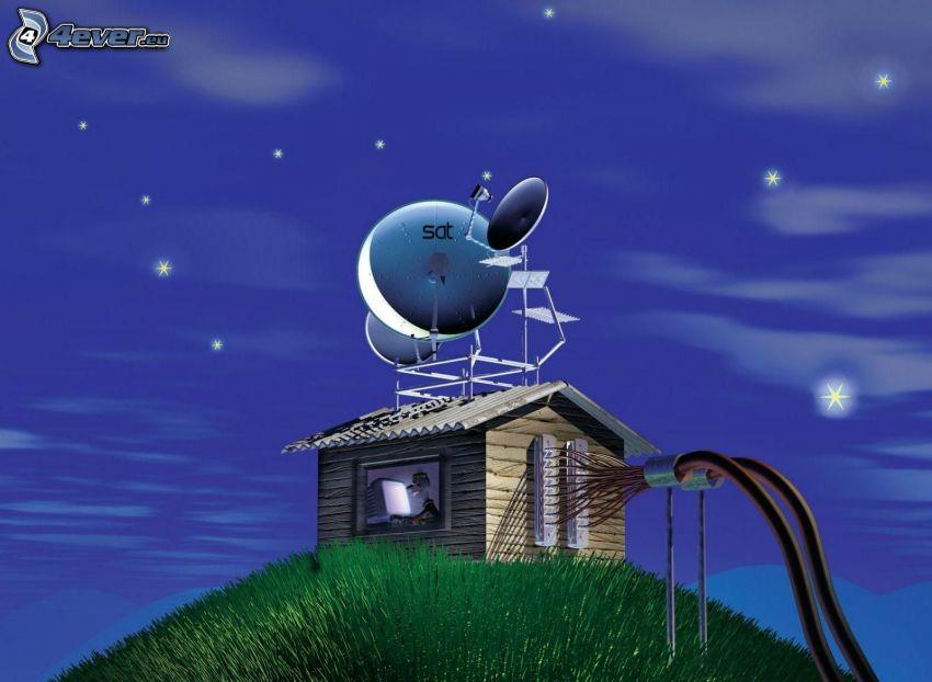 cartoon house, satellite, hill, evening, stars