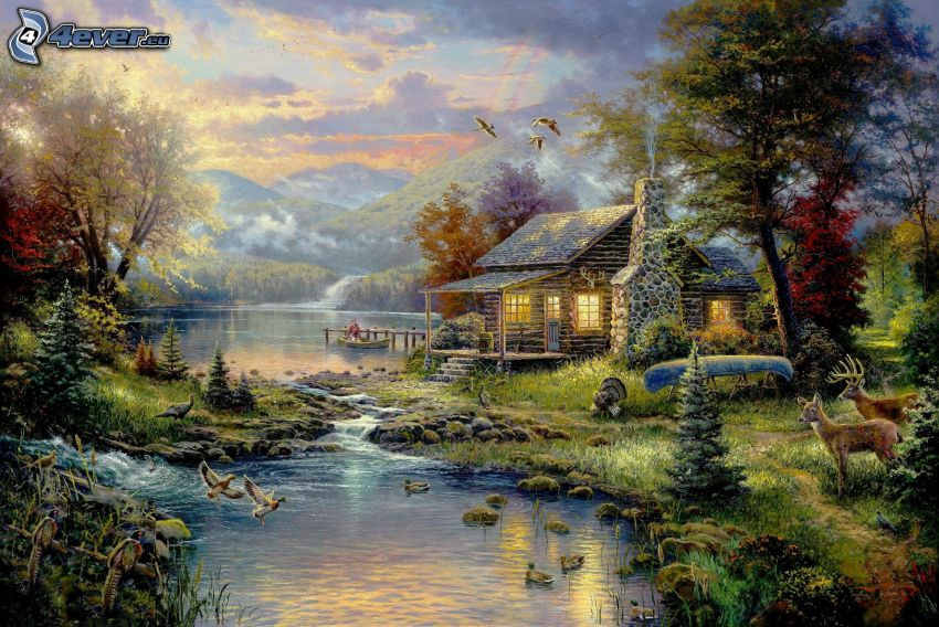 cartoon house, stream, ducks, Thomas Kinkade