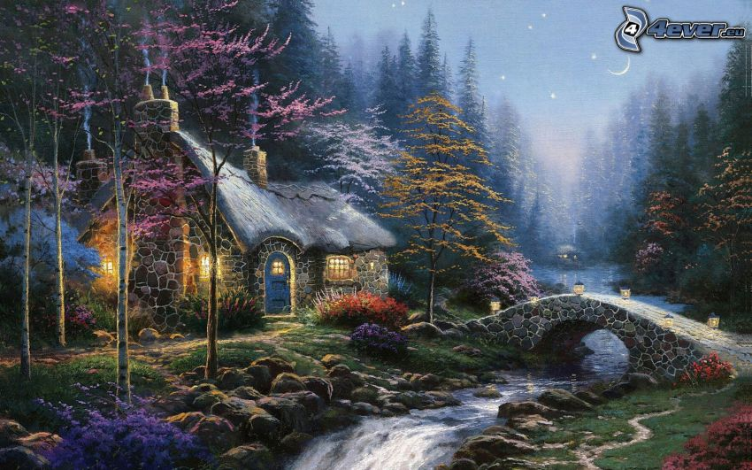 cartoon landscape, cartoon house, stream, stone bridge, night, Thomas Kinkade