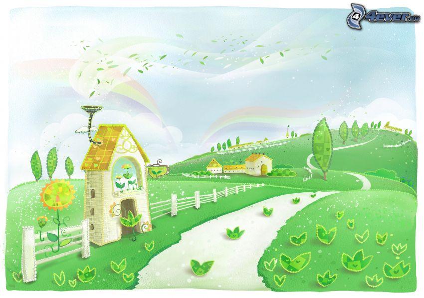 cartoon landscape, road, houses, rainbow