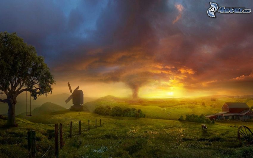 cartoon landscape, windmill, vortex, house