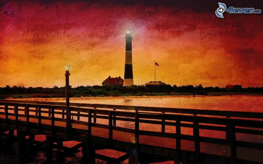 cartoon lighthouse, pier, red sky