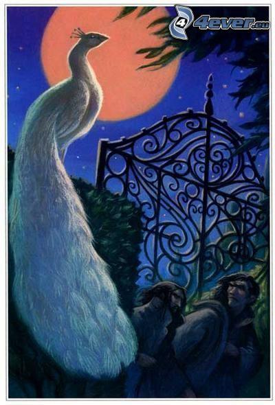cartoon peacock, full moon, gate