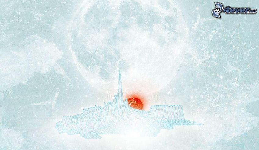 cartoon sun, glacier, flying island