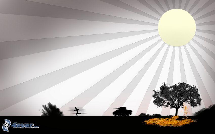 cartoon sun, silhouette, tree, tank, man with a gun