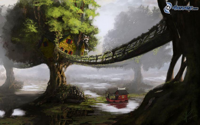 cartoon tree, house, bridge, boat