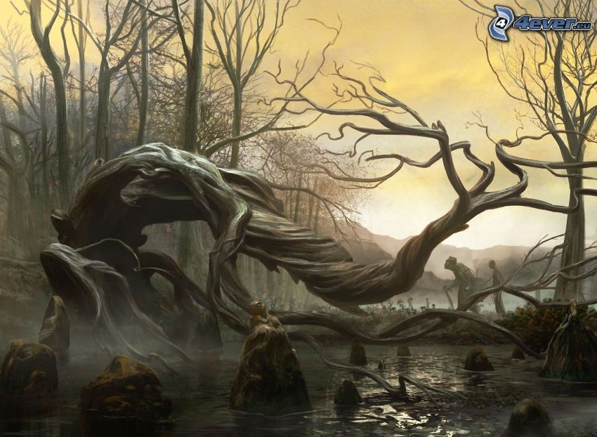 cartoon tree, stream