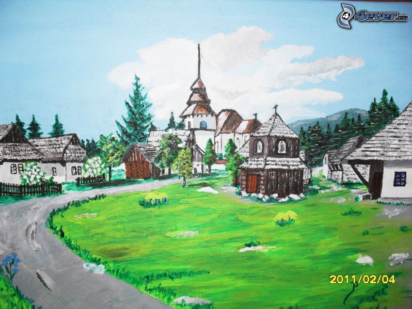 cartoon village, painting, picture
