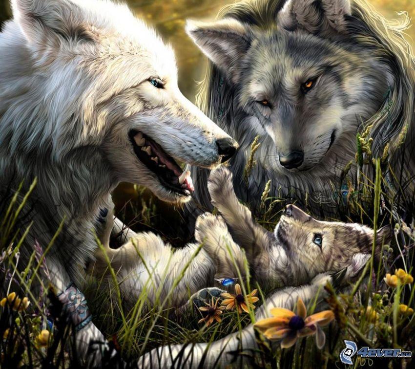 cartoon wolves, cub