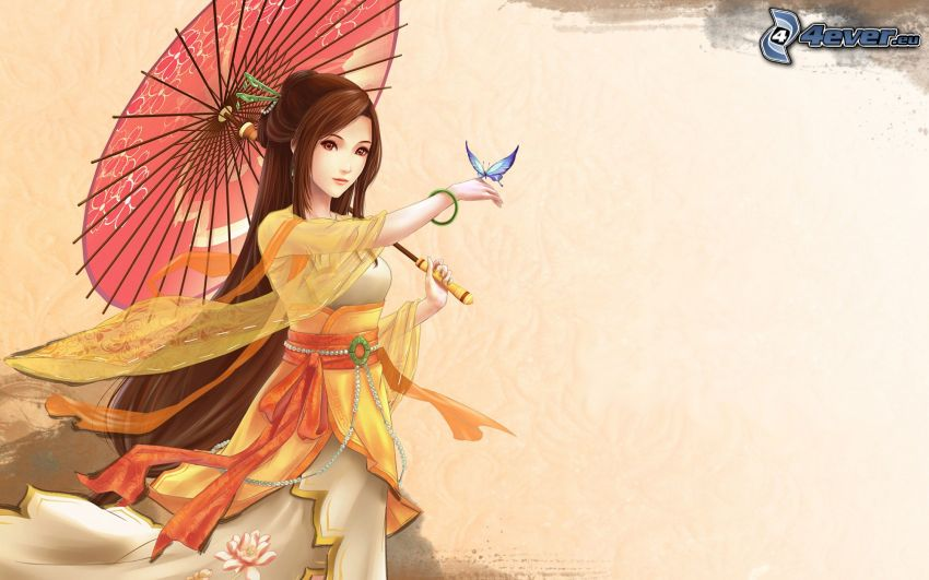 cartoon woman, butterfly, parasol