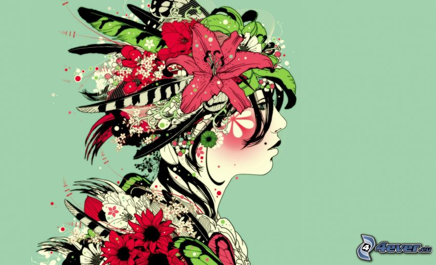 cartoon woman, cartoon flowers