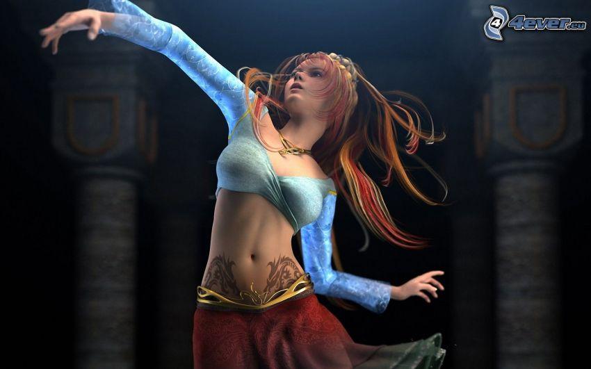 cartoon woman, dance