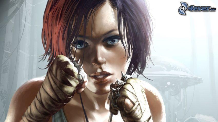 cartoon woman, fist