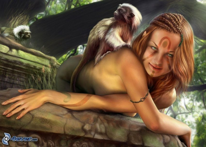 cartoon woman, monkey