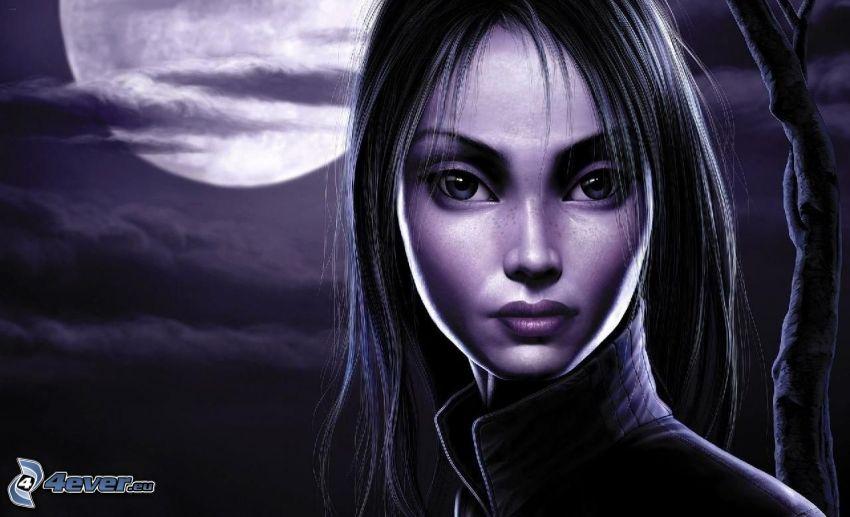 cartoon woman, moon