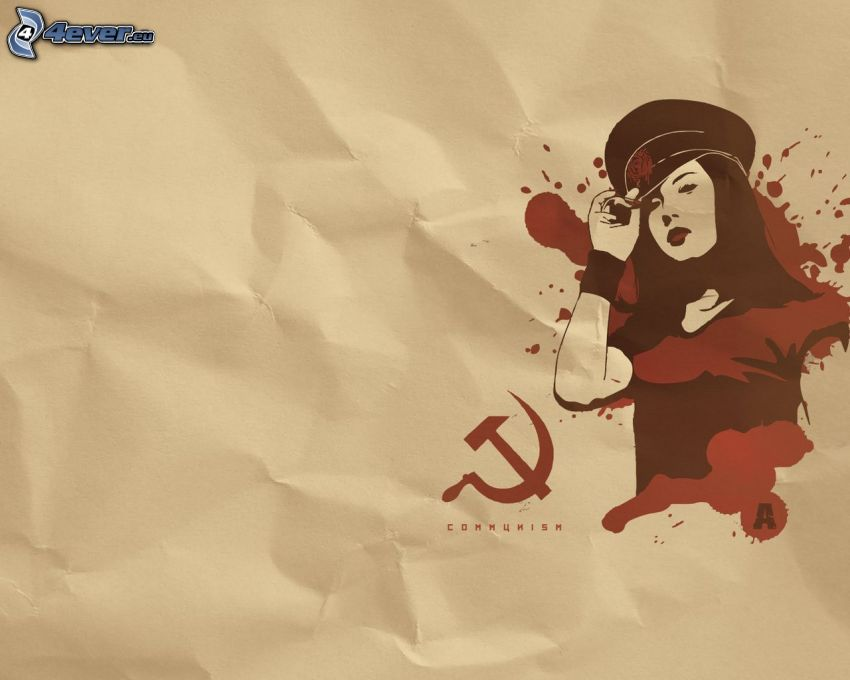 cartoon woman, paper, communism, hammer and sickle