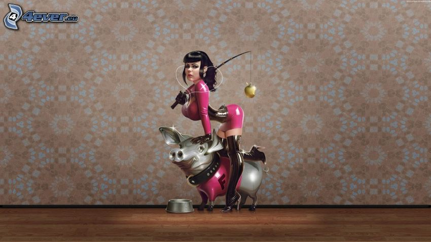 cartoon woman, pig, pink dress, fishing rod, bowl