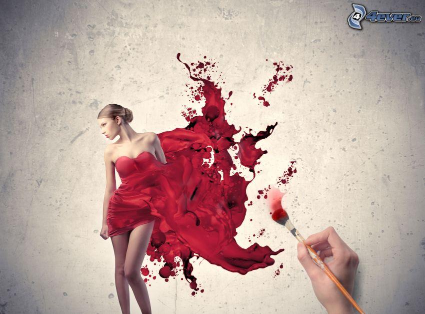 cartoon woman, red dress, blot