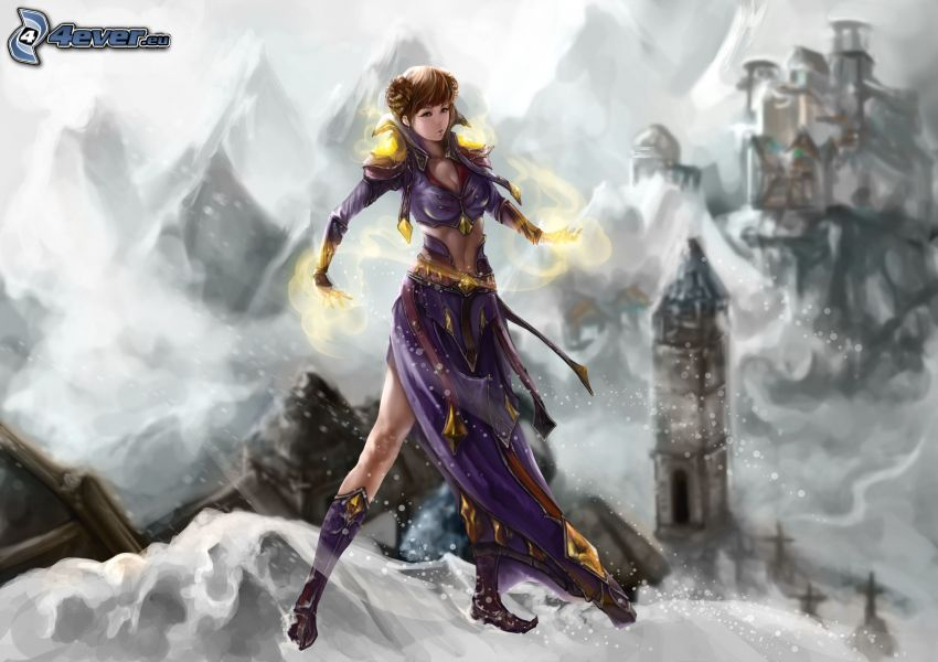 cartoon woman, snow