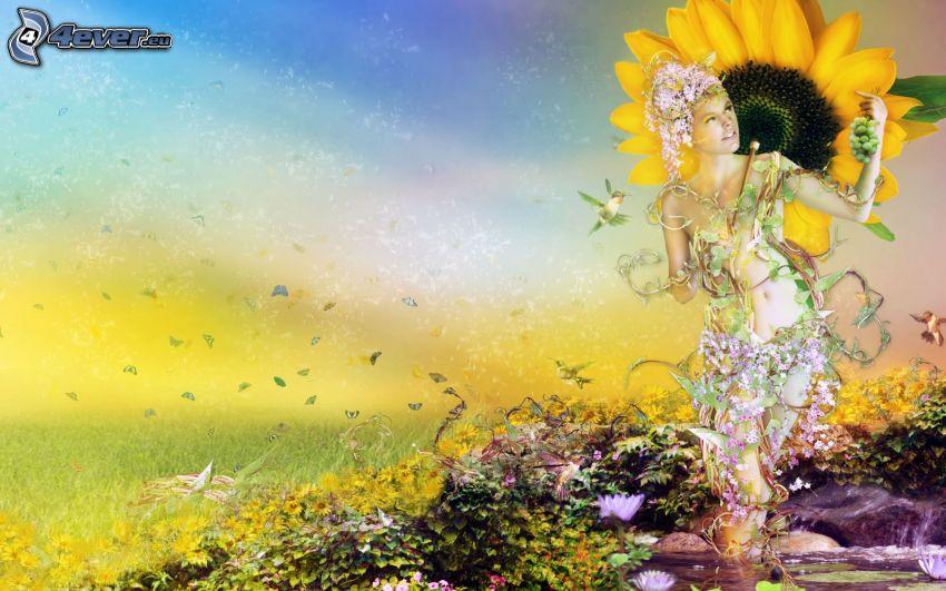 cartoon woman, sunflower, meadow, flowers