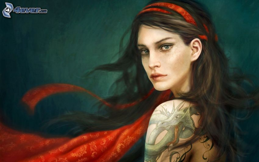 cartoon woman, tattoo