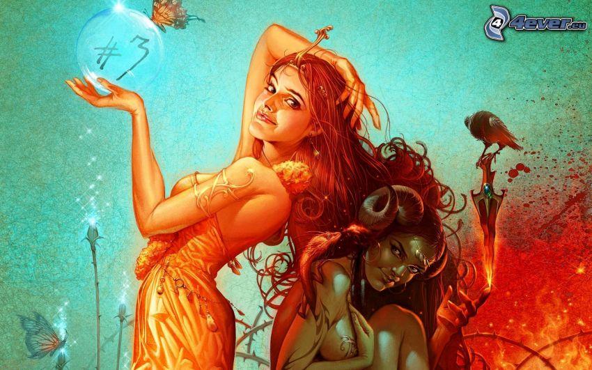 cartoon women, bubble, bird