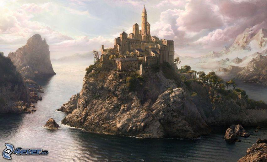 castle, rocks, sea