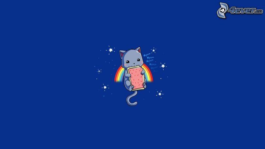 cat, pie, rainbow