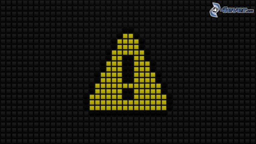 caution, triangles, dices