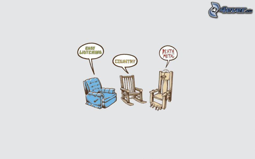 chairs, music