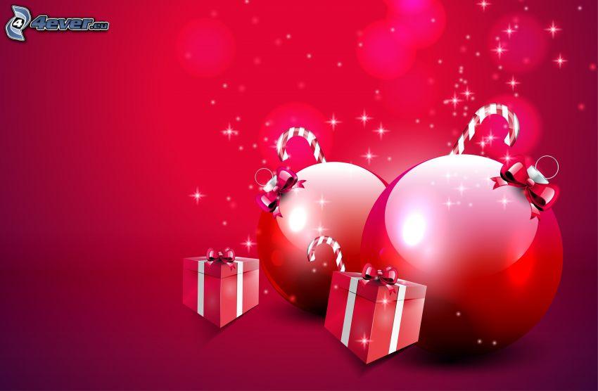 christmas balls, gifts