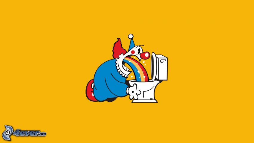 clown, toilet, throw up