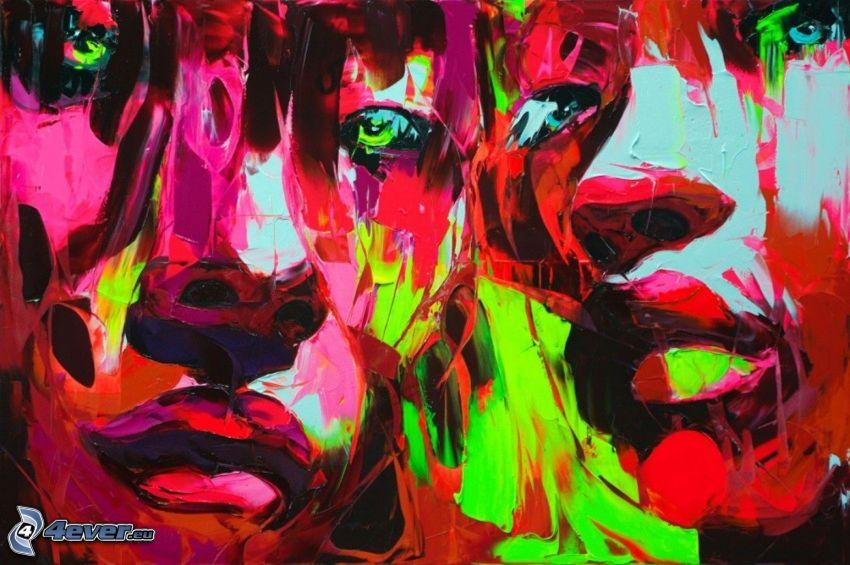 colorful face, blots