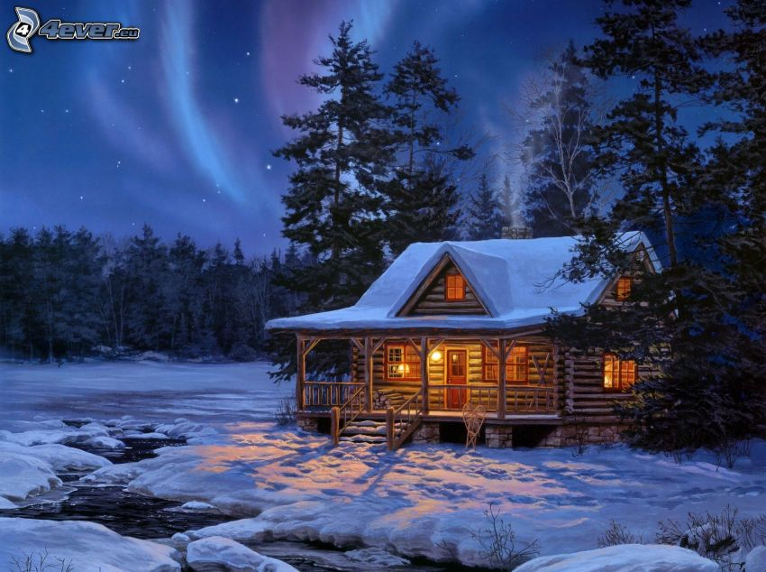 cottage, forest, snow, aurora, Thomas Kinkade